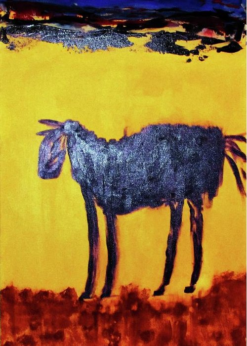 Animal .. Landscape Desert Greeting Card featuring the painting Purple Desert Donkey by Linda Fitzgerald