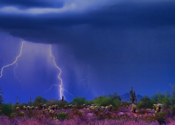 Desert Greeting Card featuring the photograph Purple Desert Storm by James BO Insogna