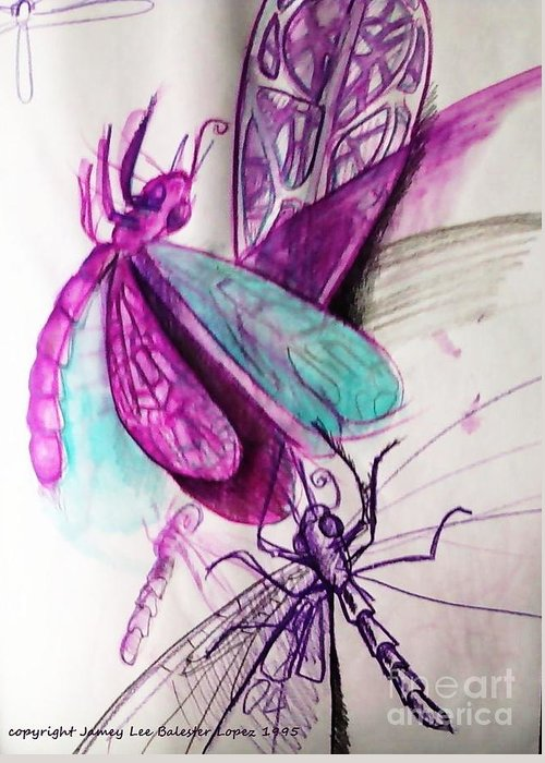 Dragonfly Painting Greeting Card featuring the drawing Purple Dragonflies by Jamey Balester