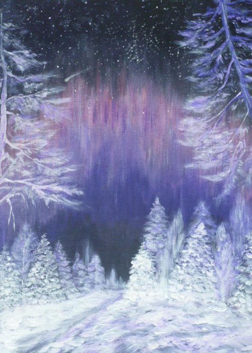 Winter Greeting Card featuring the painting Purple Dream by Irina Astley
