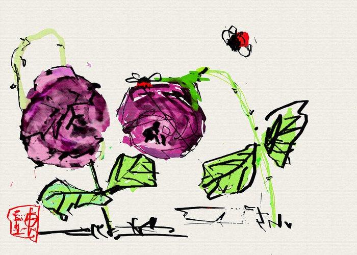 Botanical. Flower Greeting Card featuring the digital art Purple Flowers Grow by Debbi Saccomanno Chan