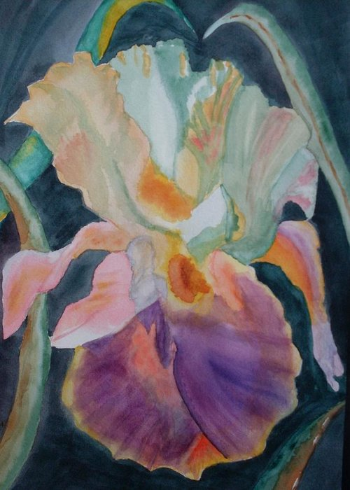 Iris Greeting Card featuring the painting Purple Glory by Warren Thompson