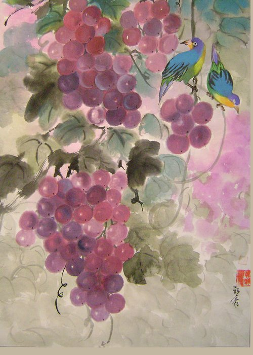 Conceptual Greeting Card featuring the painting Purple Grapes And Blue Birds by Lian Zhen