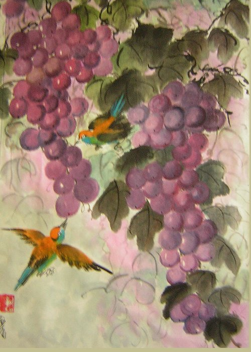 Conceptual Greeting Card featuring the painting Purple Grapes And Yellow Bird by Lian Zhen