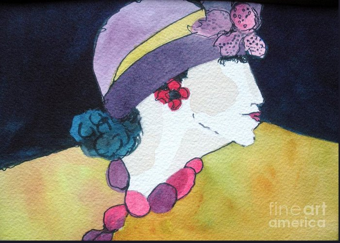 Lady In Hat Greeting Card featuring the painting Purple Hat by Jane Ferguson