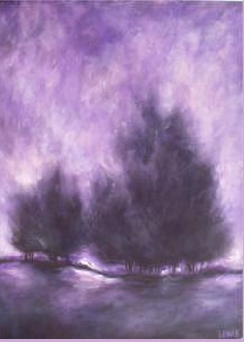 Purple Greeting Card featuring the painting Purple Haze by Ellen Lewis