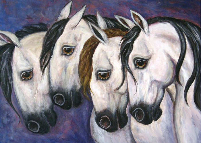 Horse Painting Greeting Card featuring the painting Purple Haze by Frances Gillotti