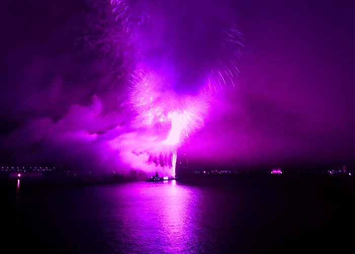 Fireworks Greeting Card featuring the photograph Purple Haze by Kendall Eutemey
