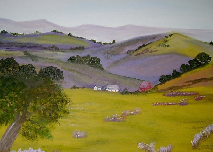 Landscape Greeting Card featuring the painting Purple Hills by Dottie Briggs