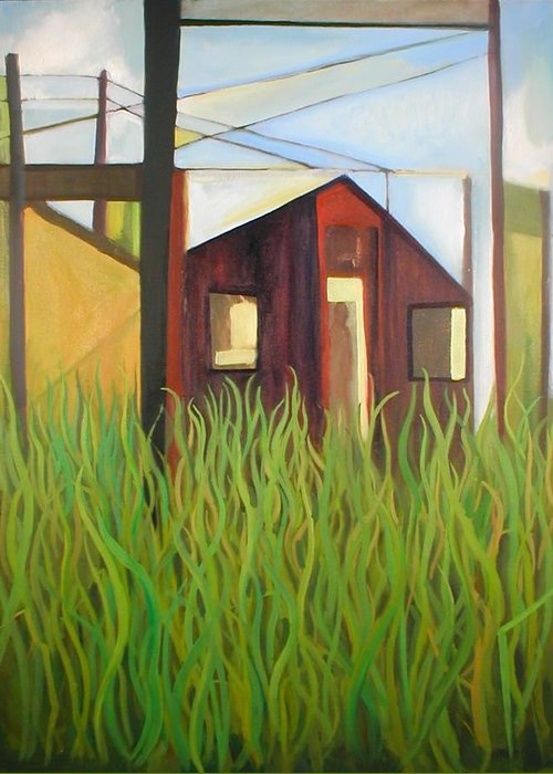 Abstract Greeting Card featuring the painting Purple House In A Green Field by Ron Erickson