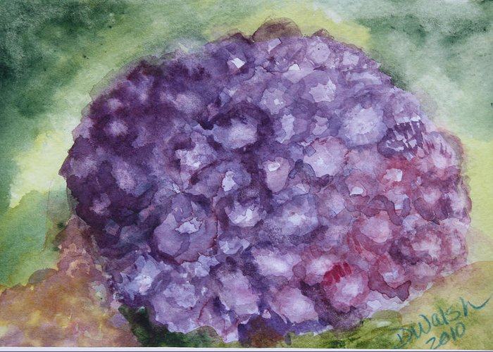 Purple Greeting Card featuring the painting Purple Hydrangea by Donna Walsh
