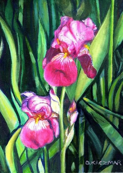Flowers Greeting Card featuring the painting Purple Iris by Olga Kaczmar
