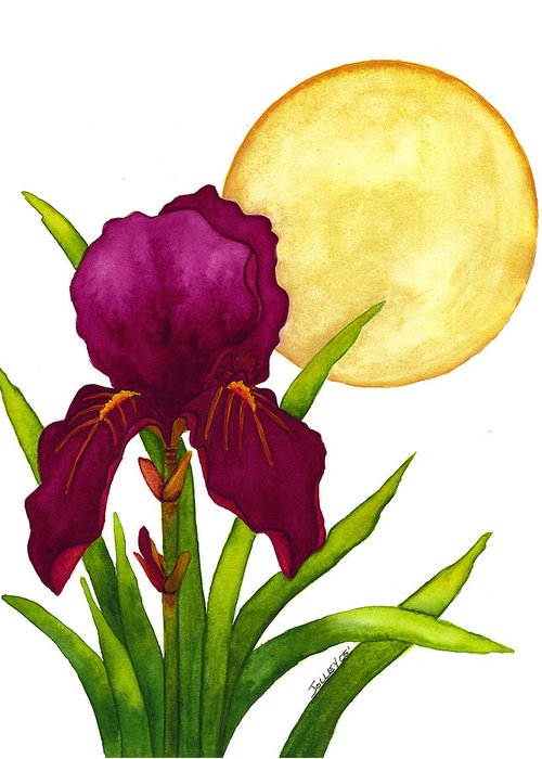 Iris Greeting Card featuring the painting Purple Iris by Stephanie Jolley