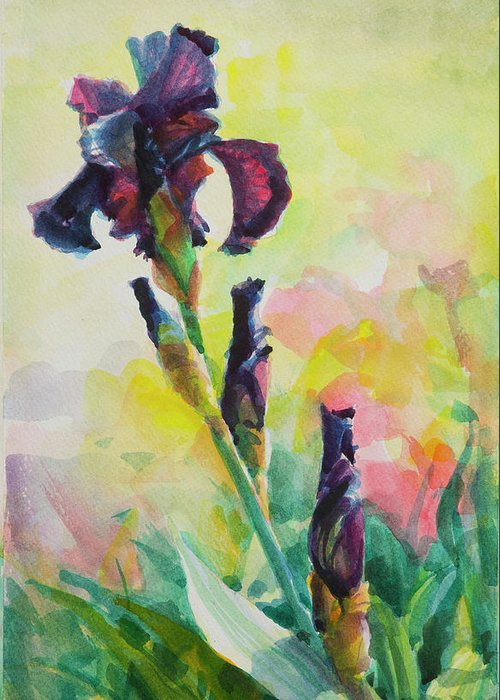 Flower Greeting Card featuring the painting Purple Iris by Steve Henderson