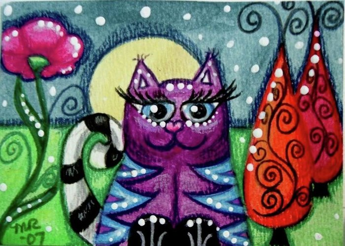 Whimsical Greeting Card featuring the painting Purple Kitty With Blue Stripes In Moonlight by Monica Resinger
