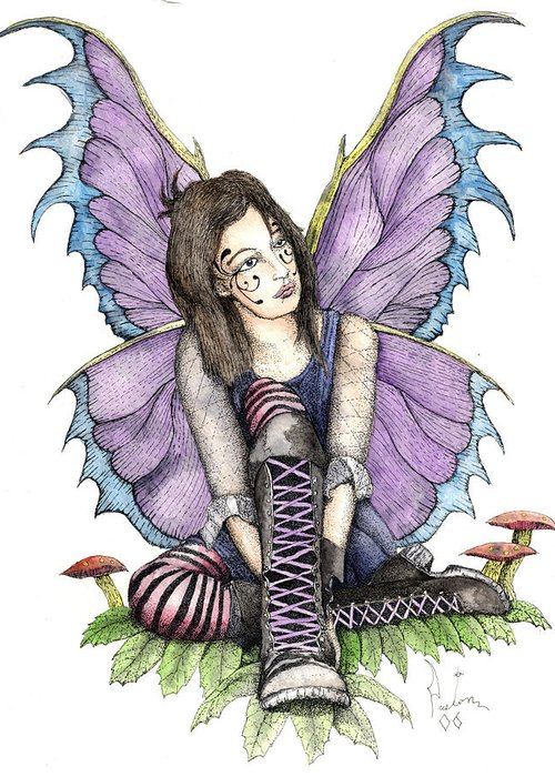 Gothic Fairy Greeting Card featuring the painting Purple Laces by Preston Shupp