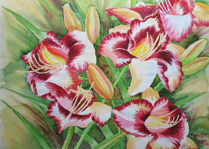 Watercolor Greeting Card featuring the painting Purple Lilies.2007 by Natalia Piacheva