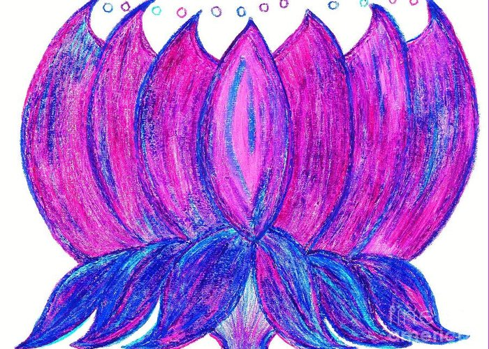 Purple Lotus Greeting Card featuring the pastel Purple Lotus by Chandelle Hazen