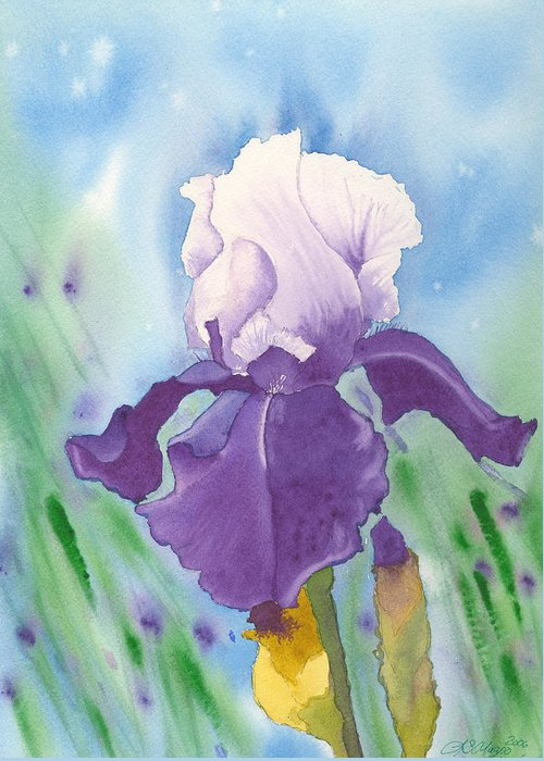 Iris Greeting Card featuring the painting Purple by Louise Magno