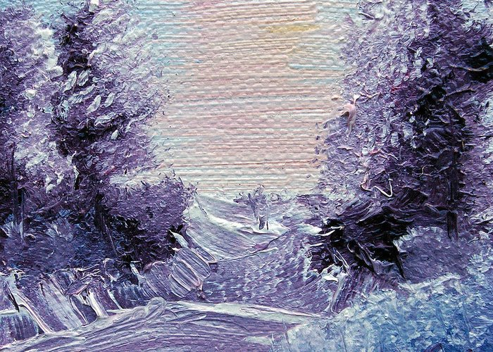 Wonderous Greeting Card featuring the painting Purple Majesty Landscape by Jera Sky