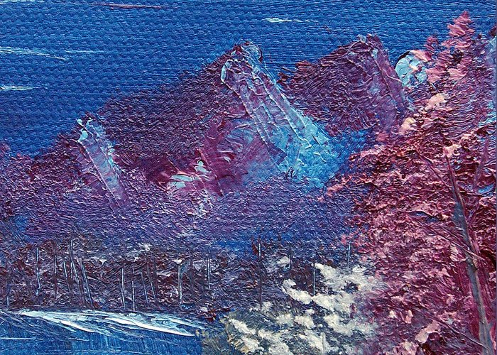 Landscape Greeting Card featuring the painting Purple Mountain Landscape by Jera Sky