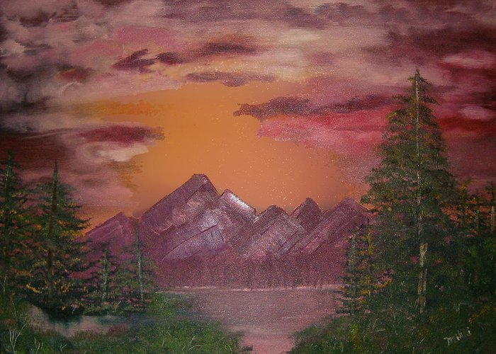 Loriginal Oil Greeting Card featuring the painting Purple Mountain by Mikki Alhart
