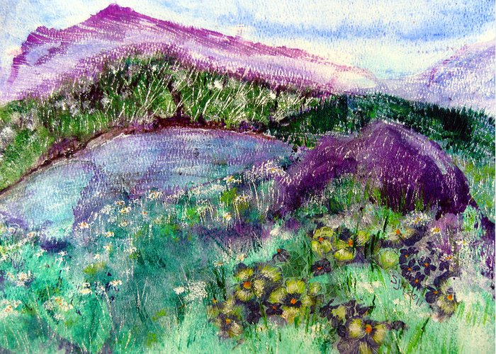 Purple Mountains Greeting Card featuring the painting Purple Mountains by Sarah Hornsby