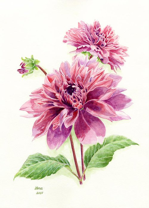 Dahlias Greeting Card featuring the painting Purple Petal Extravaganza by Helena Romanovsky