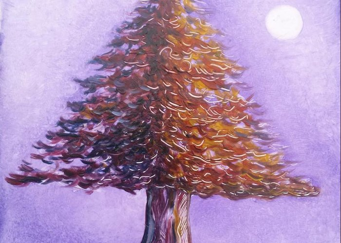 Purple Greeting Card featuring the painting Purple Pine by Karen Doyle