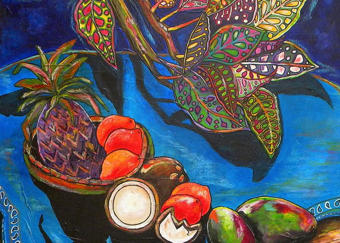 Tropical Greeting Card featuring the painting Purple Pineapple by Patti Schermerhorn