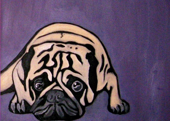Pug Greeting Card featuring the painting Purple Pug by Darren Stein