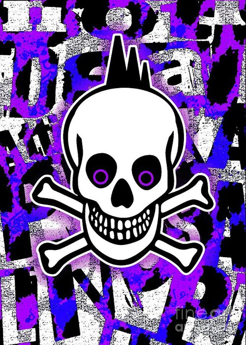 Skull Greeting Card featuring the digital art Purple Punk Skull by Roseanne Jones