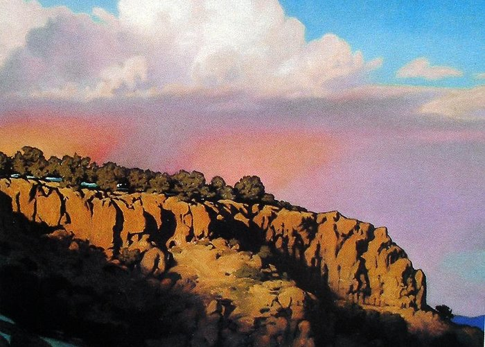 Landscape Greeting Card featuring the painting Purple Rain by Kevin Lawrence Leveque