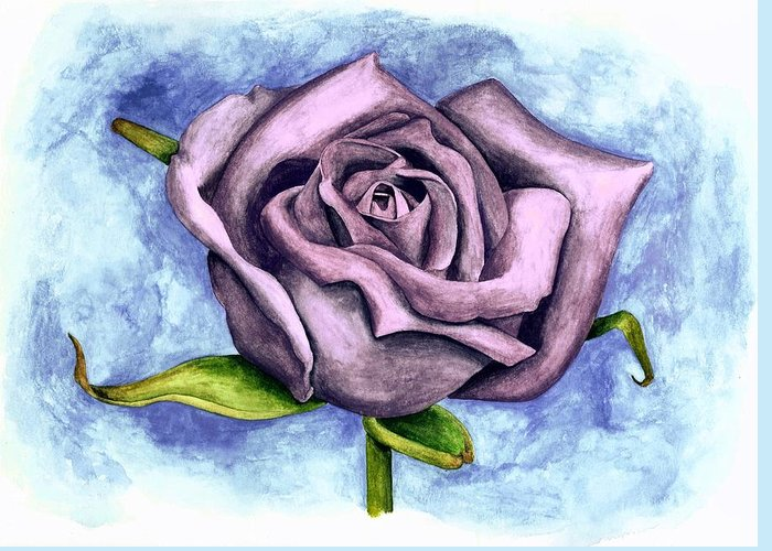 Purple Rose Greeting Card featuring the painting Purple Rose by Robert Morin