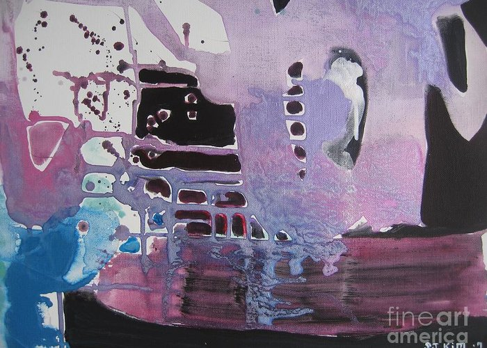Abstract Paintings Greeting Card featuring the painting Purple Seascape by Seon-Jeong Kim
