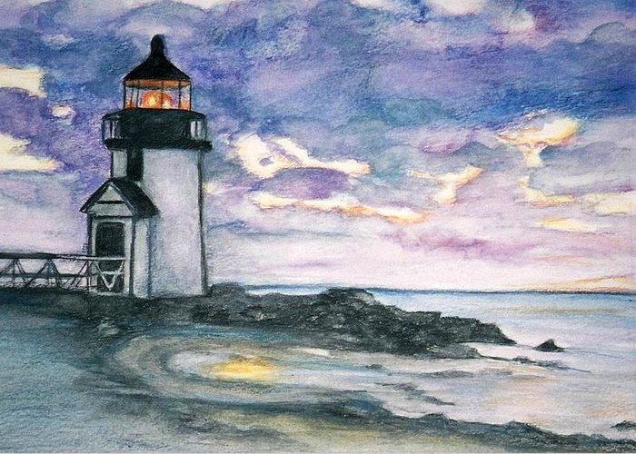 Nantucket Greeting Card featuring the painting Purple Skies Over Nantucket by Debra Sandstrom