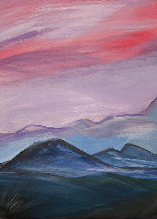 Mountain Greeting Card featuring the painting Purple Sky by Liz Vernand