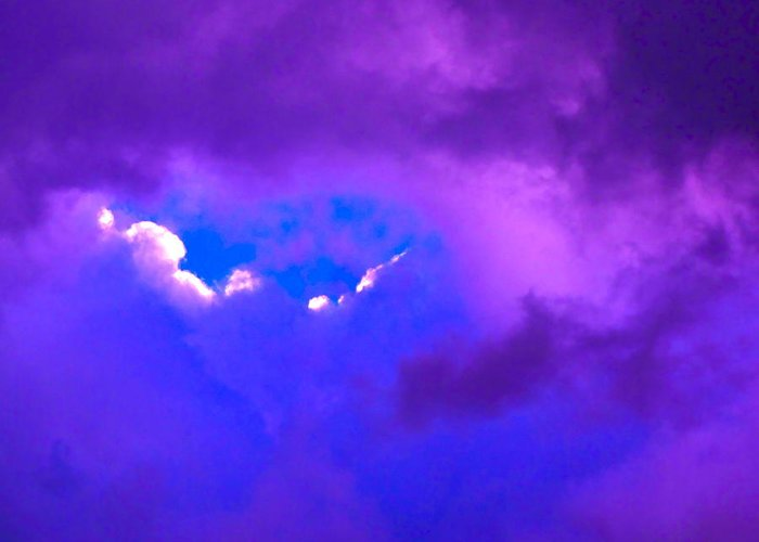 Photograph Of Clouds Greeting Card featuring the photograph Purple Storm by Gwyn Newcombe