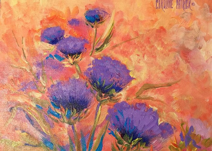 Thistles Greeting Card featuring the painting Purple Thistles by Caroline Patrick