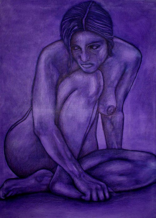 Nude Women Greeting Card featuring the painting Purple by Thomas Valentine