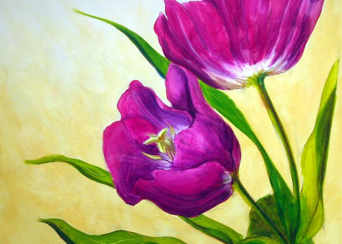 Tulip Greeting Card featuring the painting Purple Tulips by Scott Gordon