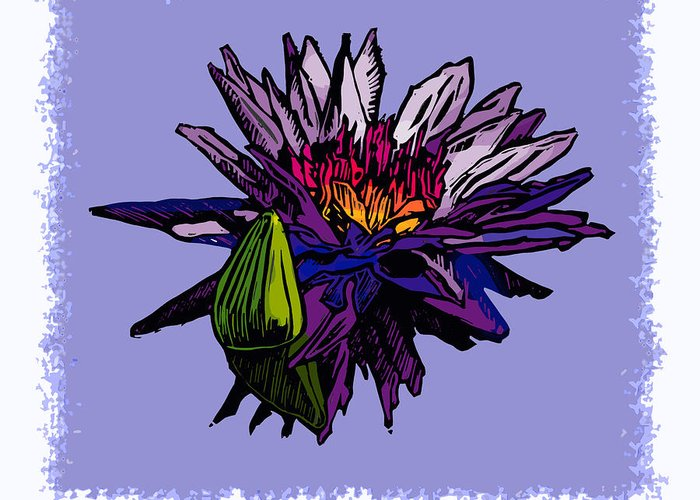 Water Lily Greeting Card featuring the drawing Purple Water Lily by John Lautermilch
