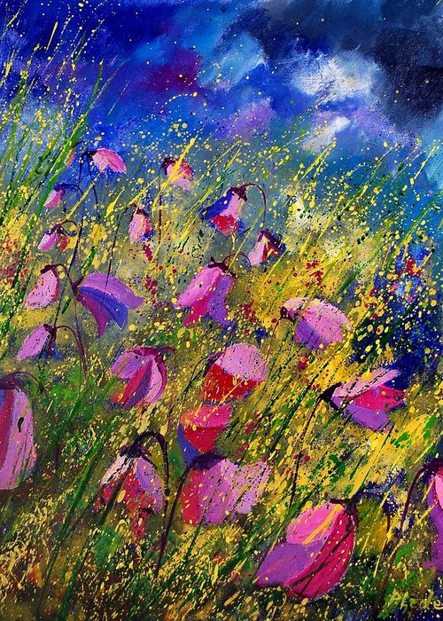 Poppies Greeting Card featuring the painting Purple Wild Flowers by Pol Ledent