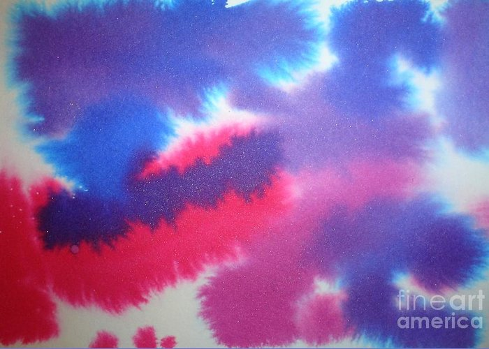 Abstract Greeting Card featuring the painting Purple Wisp by Chandelle Hazen