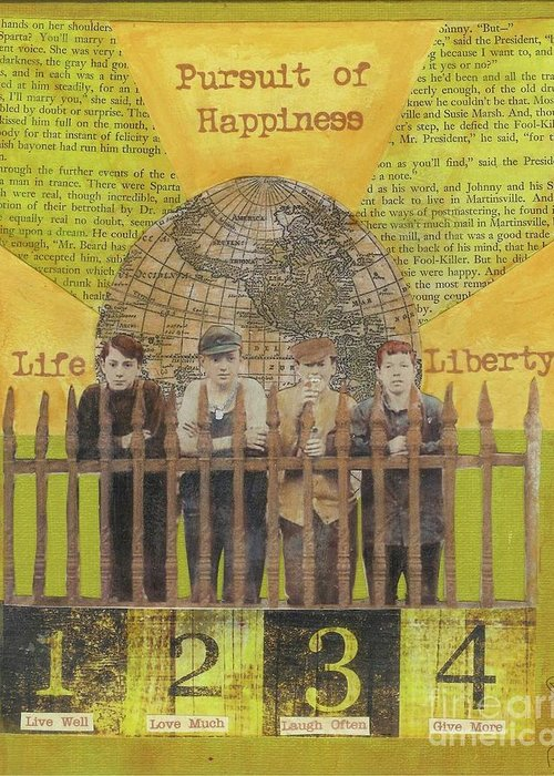 Gold Greeting Card featuring the mixed media Pursuit Of Happiness by Desiree Paquette