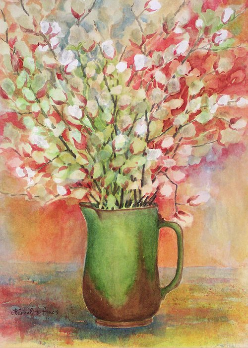 Pussy Willow Greeting Card featuring the painting Pussy Willow And Pitcher by Barbel Amos