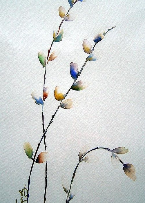 Pussy Willow Branches Greeting Card featuring the painting Pussy Willows by Joanne Smoley