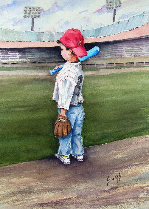 Baseball Greeting Card featuring the painting Put Me In Coach by Sam Sidders
