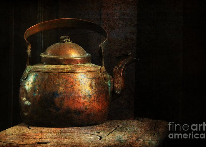 Kitchen Greeting Card featuring the photograph Put The Kettle On by Lois Bryan