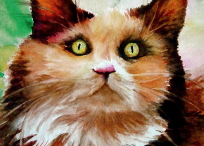 Cat Greeting Card featuring the painting Putty Tat by L Lauter